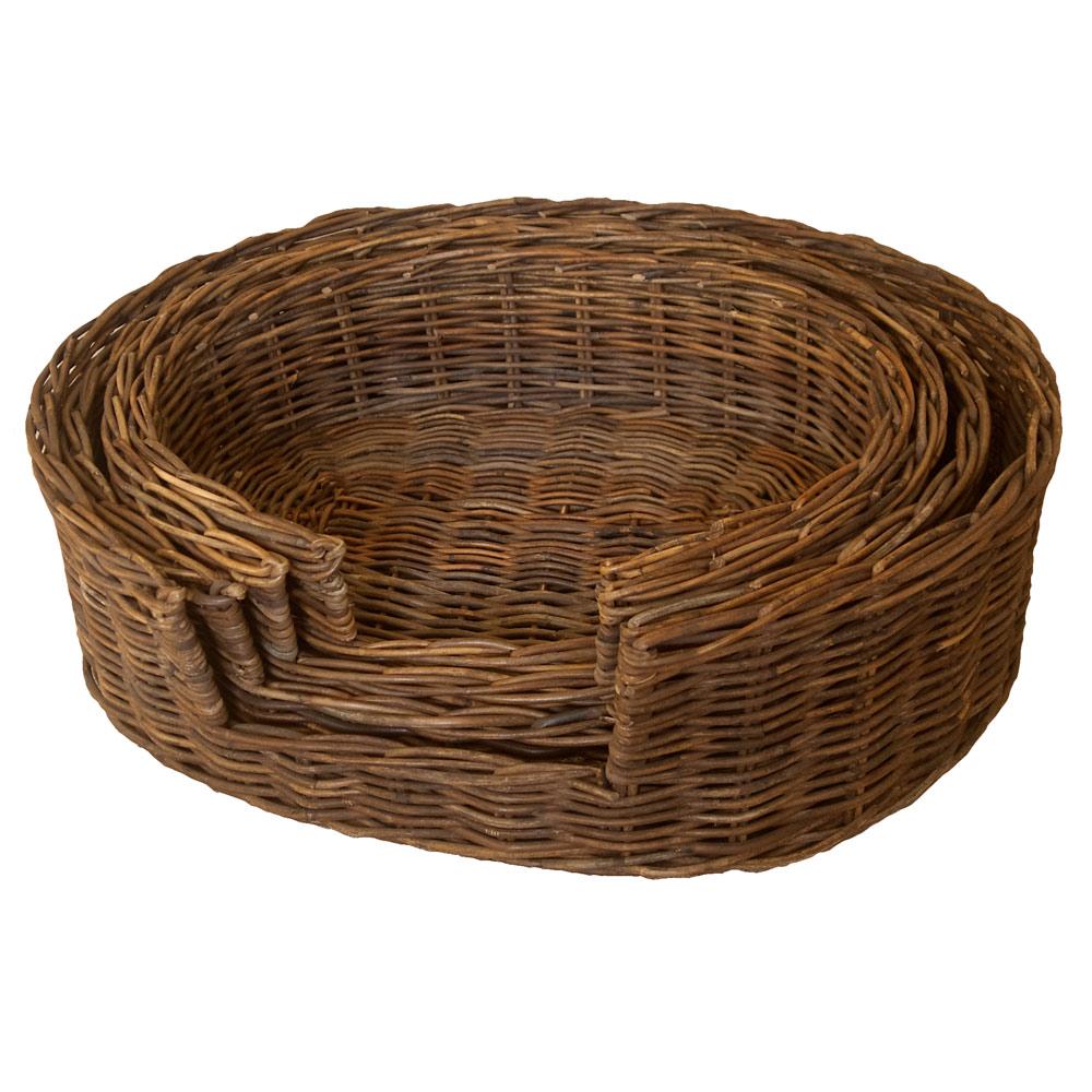 Dark Rattan Dog Basket