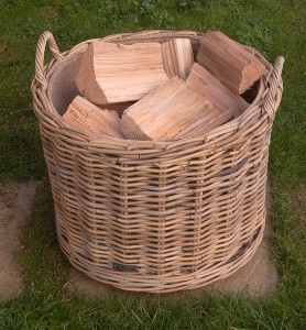 round rattan log basket