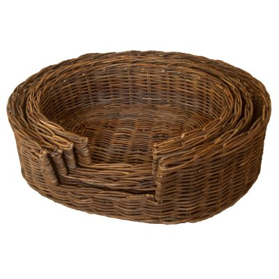 Dark Rattan Dog Basket in 4 sizes