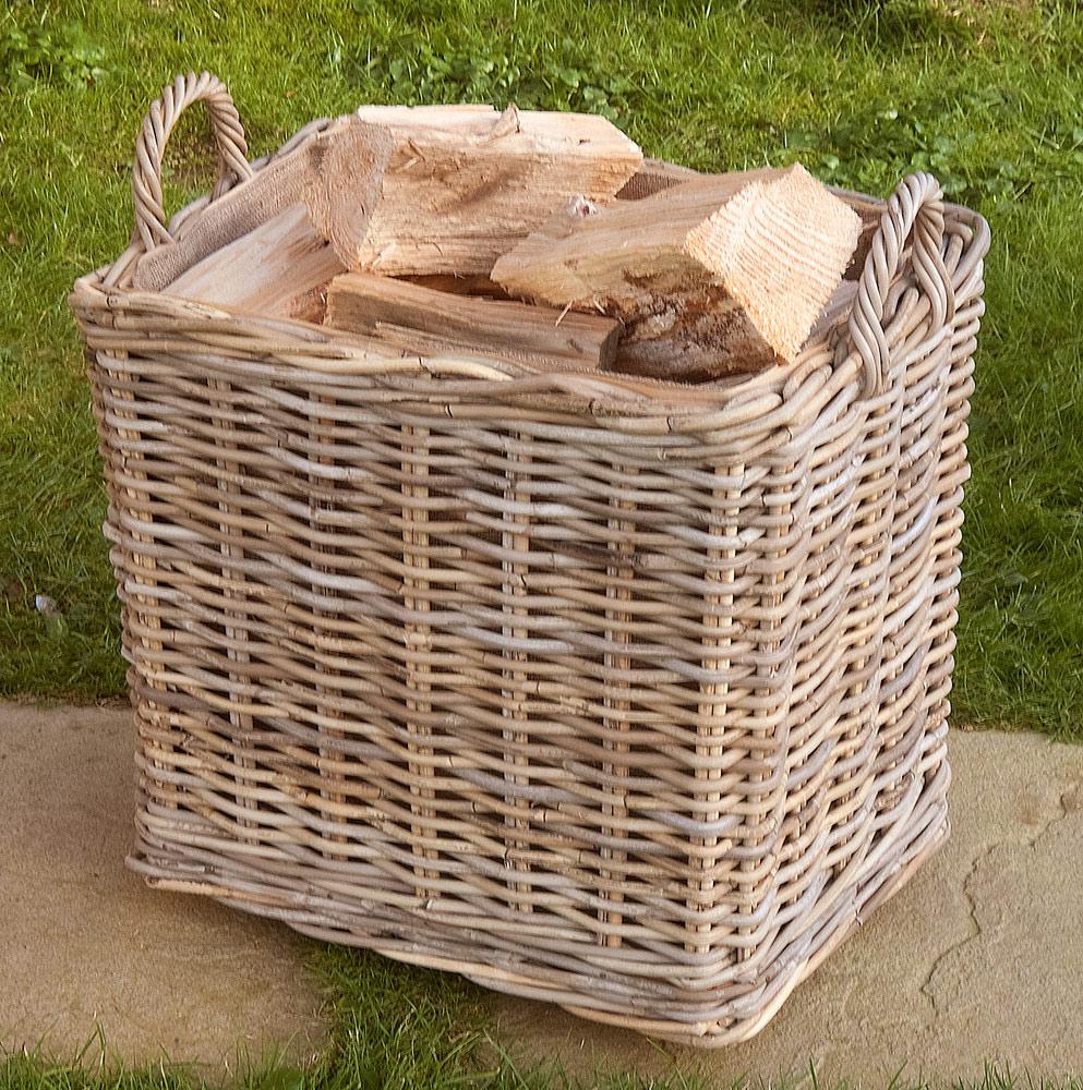 tall oblong lined wheeled log basket. Black Bedroom Furniture Sets. Home Design Ideas