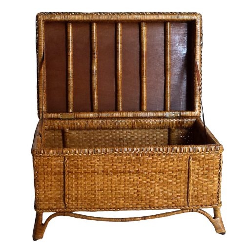 colonial rattan storage trunk