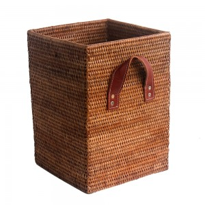 Square WastePaper Basket with Leather Handles