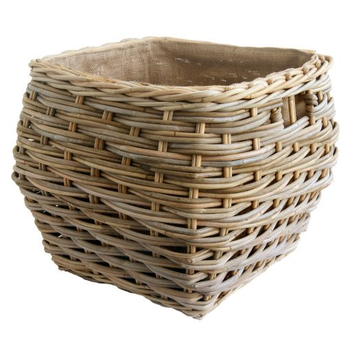 Square Shaped Grey Lined Log Basket