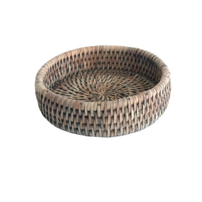 Grey Woven Rattan Wine Bottle Coaster