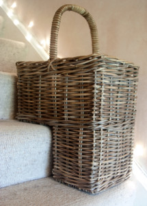 grey stair basket