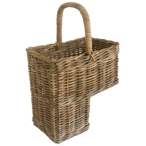 grey wicker stair basket