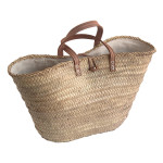Lined French Market Basket with leather handles