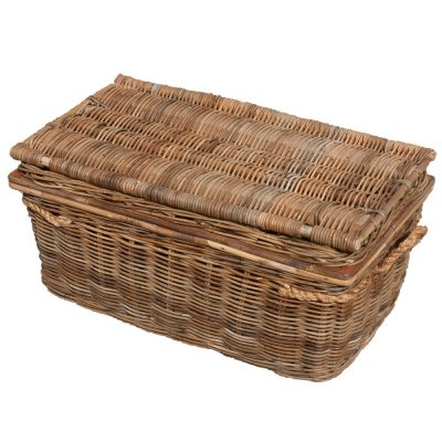 Grey Wicker Storage Trunk