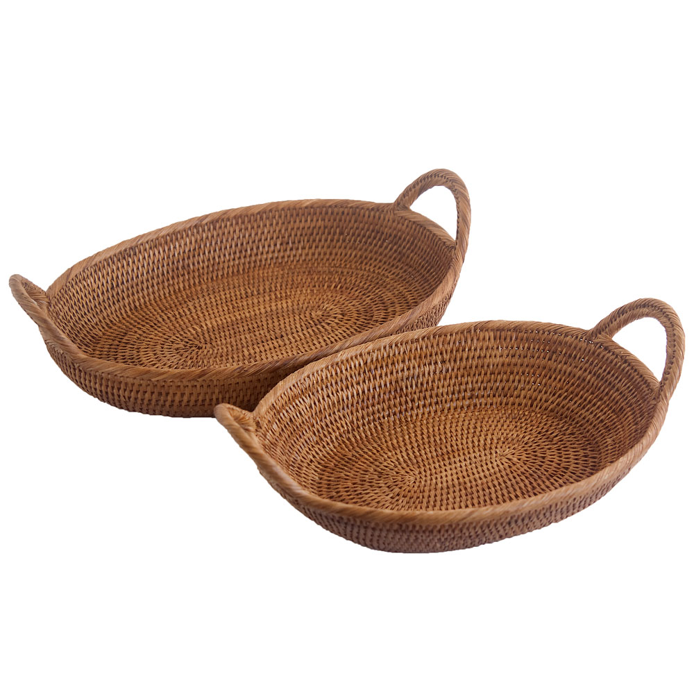 Woven Wicker Oval Tray Basket with Handles in 2 sizes