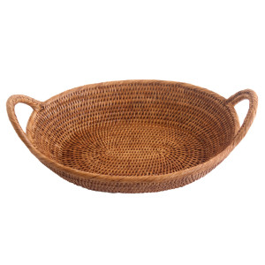 small oval rattan tray