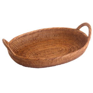 large oval rattan tray