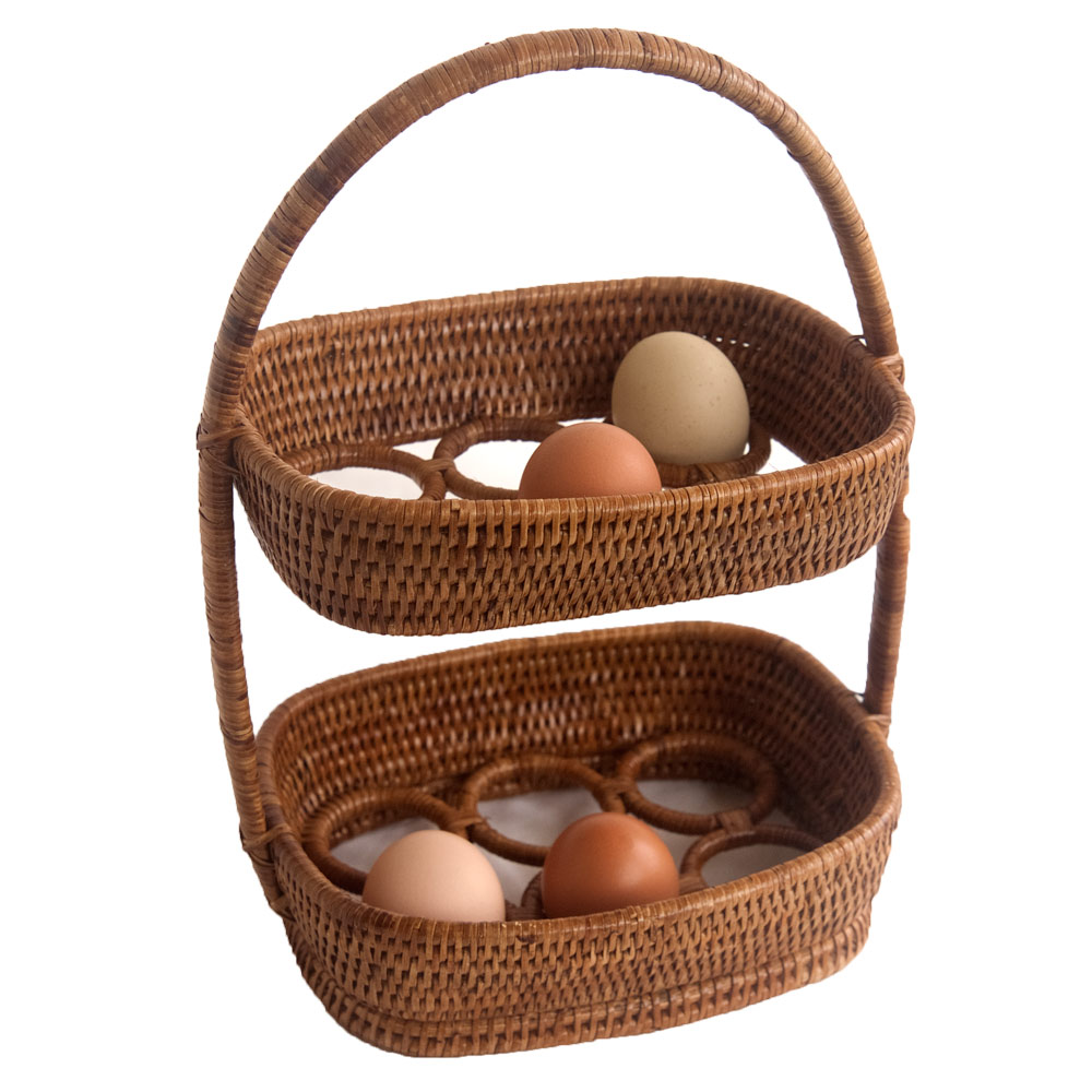 Oval Rattan Egg Storage Basket with two tiers