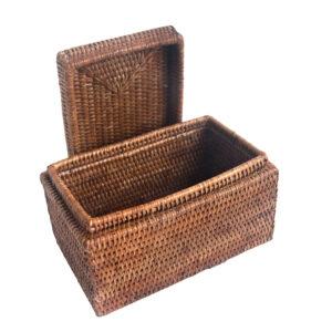 Plain Rattan Trinket Box with Lid
