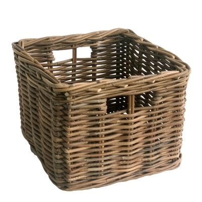 square grey wicker basket