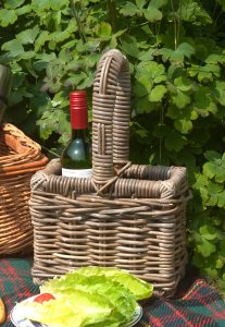 grey wicker bottle carrier
