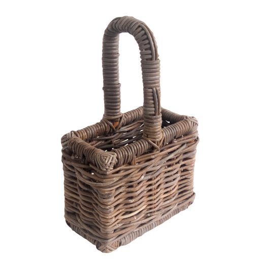 Grey Wicker 2 Bottle Carrier