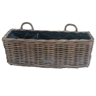 Large Grey Wicker Window Box Planter