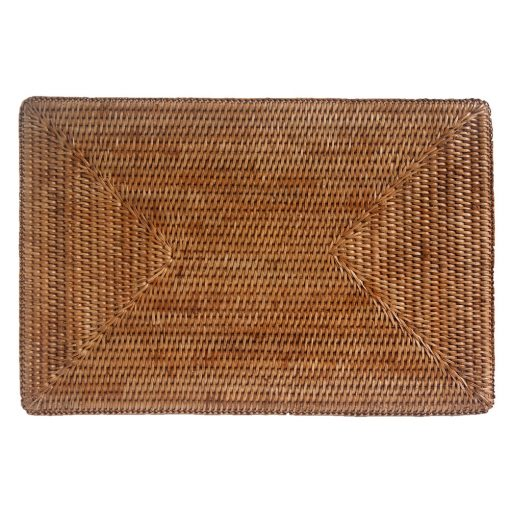 Set of Large Rectangular Woven Rattan Placemats
