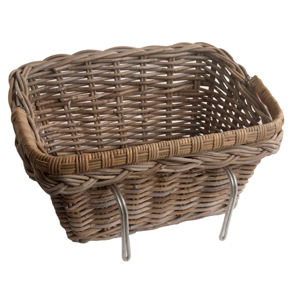 Wicker Bicycle Basket With Handle : Grey wicker bicycle basket with fold down handle