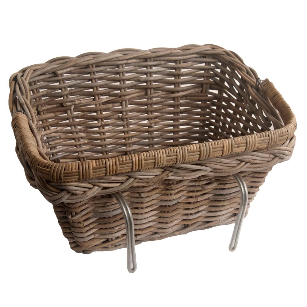 Wicker Bike Basket With Handle : Grey wicker bicycle basket with fold down handle