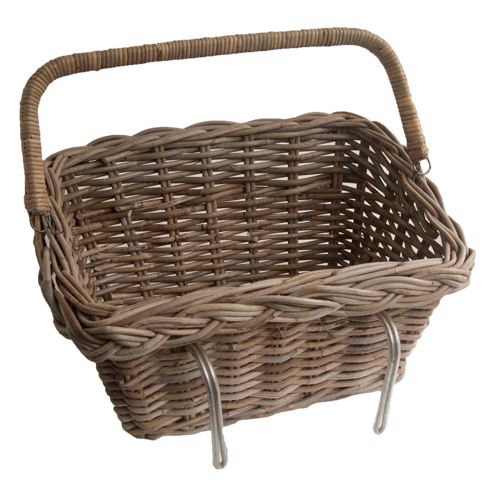 Grey Wicker Basket Uk : Grey wicker bicycle basket with fold down handle