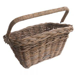 grey wicker bike basket with fold down handle