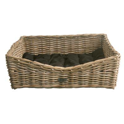 Oblong Grey Wicker Dog Basket in 3 Sizes