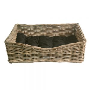 Oblong Grey Wicker Dog Basket in 3 Sizes