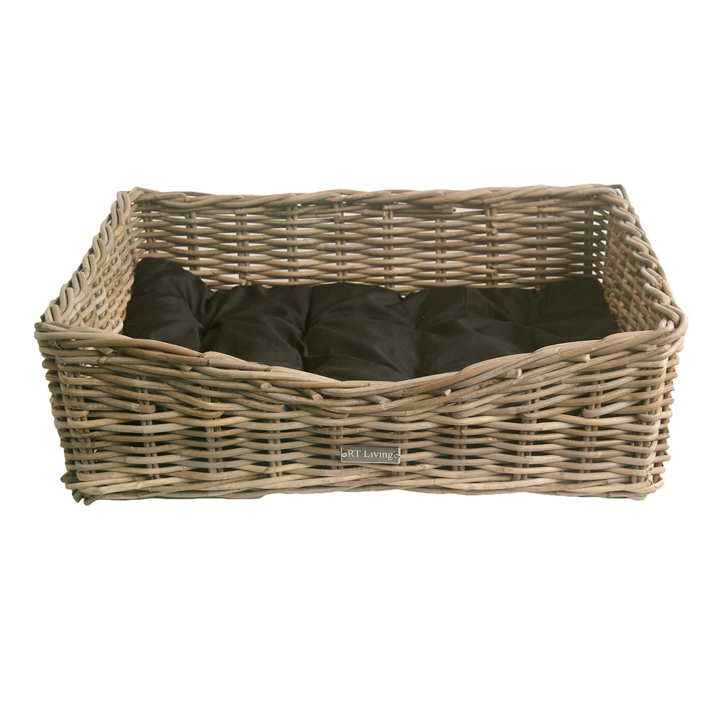Grey Wicker Basket Uk : Oblong grey wicker dog basket in sizes