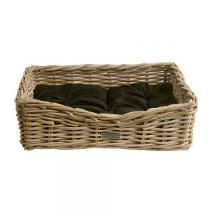 Small Grey Oblong Dog Basket-with-Cushion