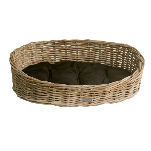 Small Oval Grey Dog Bed with Cushion
