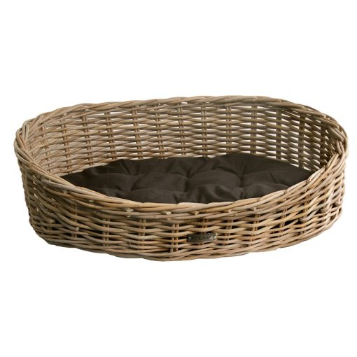 Oval Grey Wicker Dog Basket in 3 Sizes