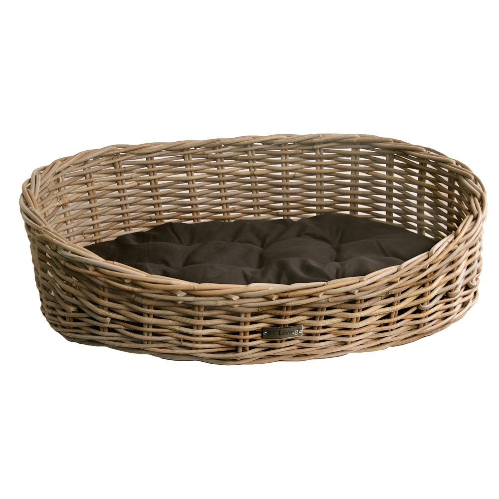 Grey Wicker Basket Uk : Oval grey wicker dog basket in sizes