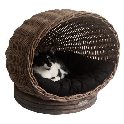 Grey Wicker Pet Pod or Cat Basket
