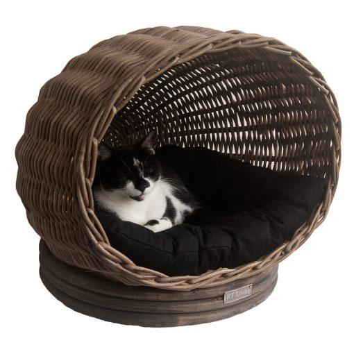 Grey Wicker Pet Pod or Cat Basket