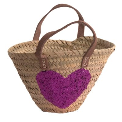 Child's Shopping Basket with Pink Sequin Heart and Leather Handles