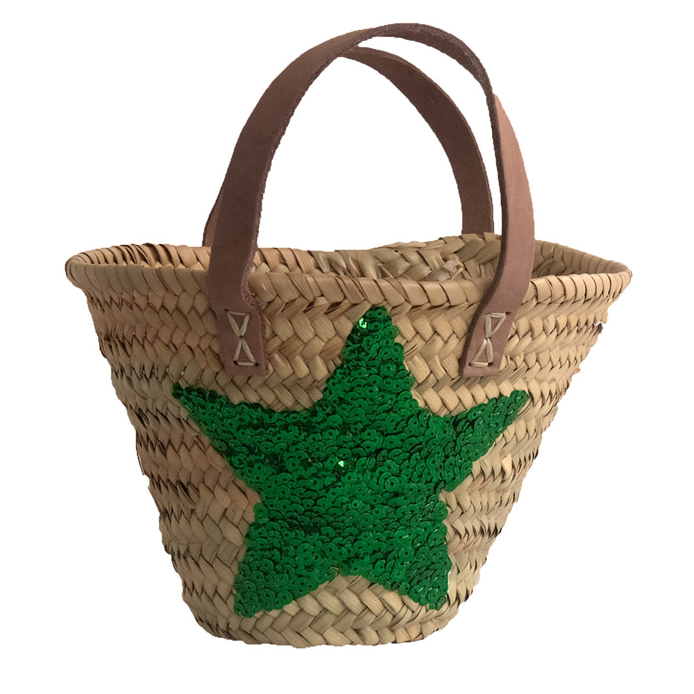 Child's Shopping Basket with Sequin Star and Leather Handles
