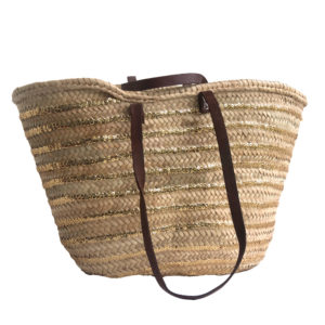 Long Handled French Market Basket with Sequin Stripes