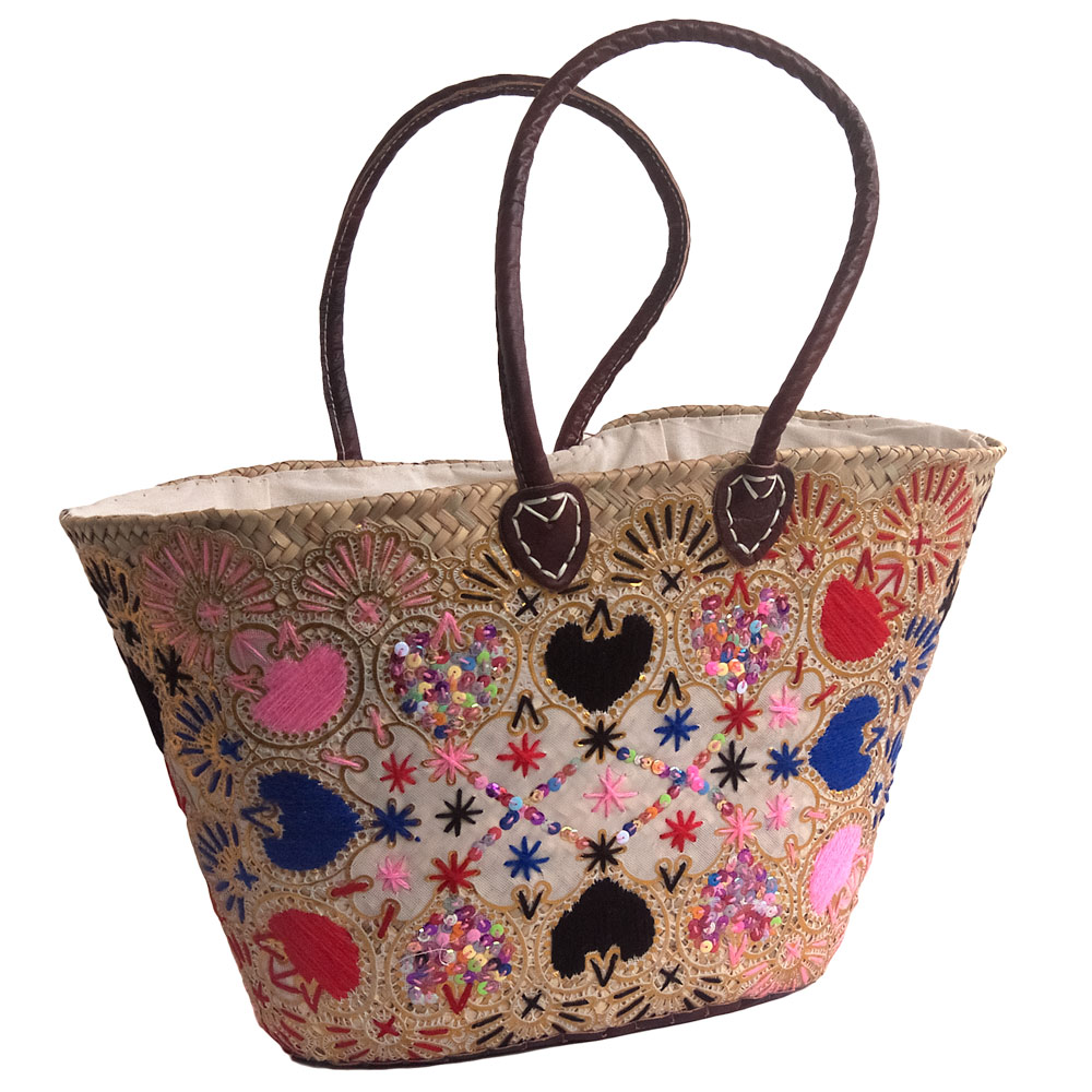 Pink Embroidered French Market Basket