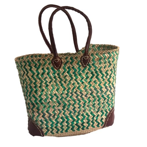 Green Zig Zag Pattern French Market Basket with Leather Handles