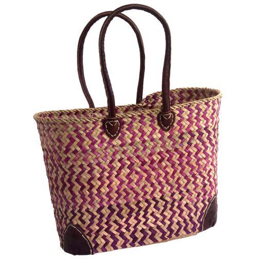 Pink Zig Zag Patterned French Market Basket