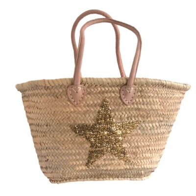 French Market Basket with Gold Sequin Star and Half Shoulder Handles