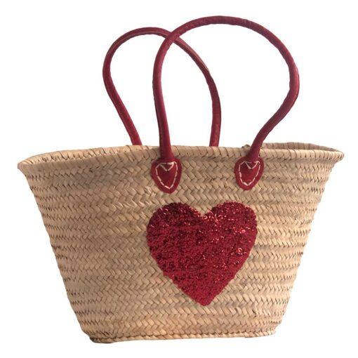 Half Shoulder French Market Basket with Red Sequin Heart