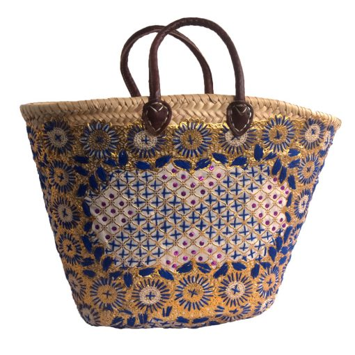 Blue Embroidered French Market Basket