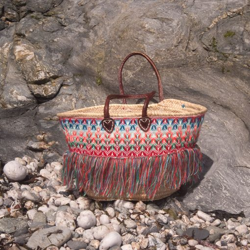 Embroidered French Market Basket with Fringe
