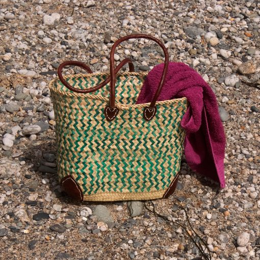 Green Zig Zag French Market Basket