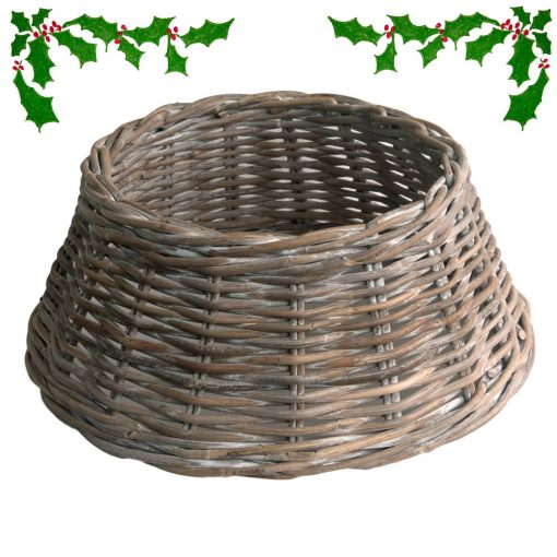 Grey Whitewash Wicker Christmas Tree Skirt