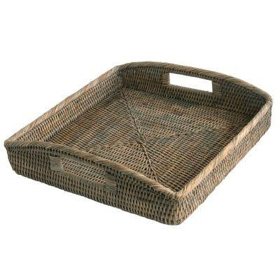 Square Grey Rattan Serving Tray