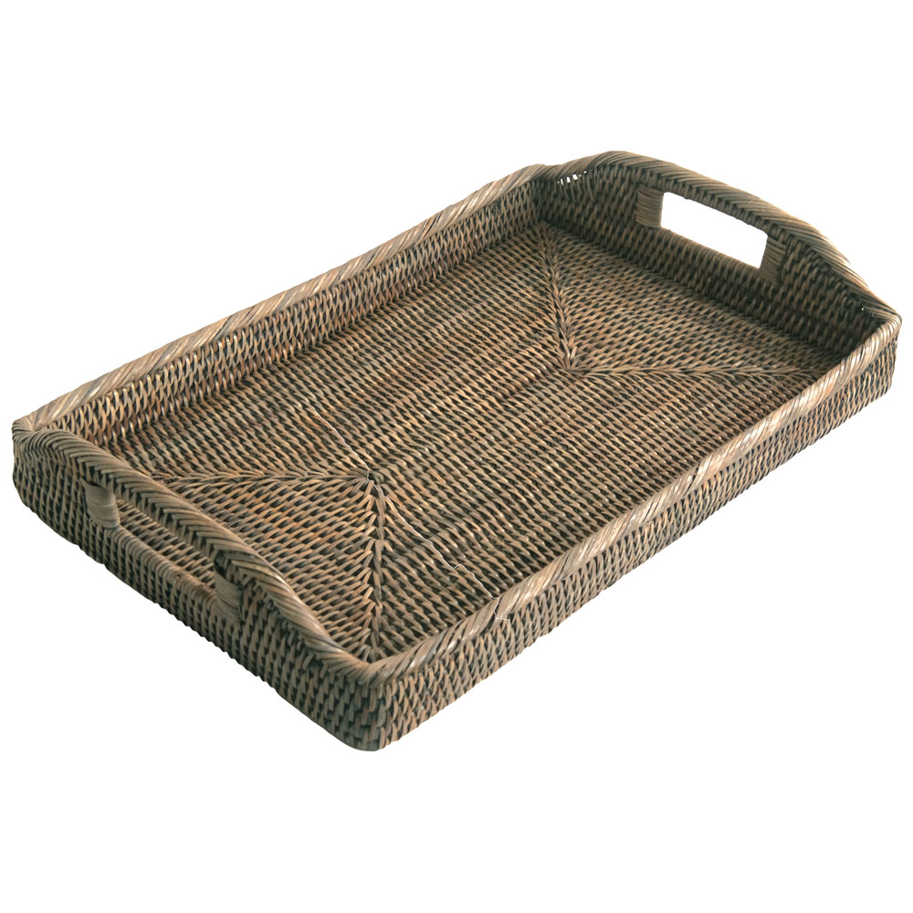 Oblong Grey Rattan Serving Tray