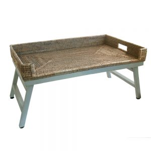 Grey Rattan Breakfast Tray with Legs